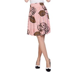 Chocolate Background Floral Pattern A Line Skirt