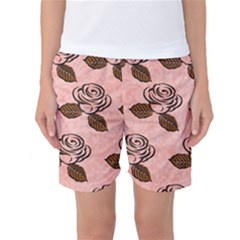 Chocolate Background Floral Pattern Women s Basketball Shorts