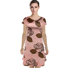 Chocolate Background Floral Pattern Cap Sleeve Nightdress