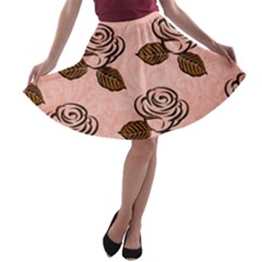 Chocolate Background Floral Pattern A Line Skater Skirt