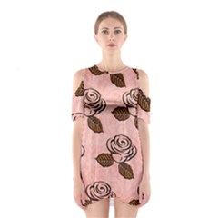 Chocolate Background Floral Pattern Shoulder Cutout One Piece