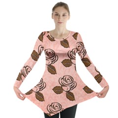 Chocolate Background Floral Pattern Long Sleeve Tunic