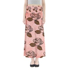 Chocolate Background Floral Pattern Full Length Maxi Skirt