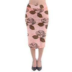 Chocolate Background Floral Pattern Midi Pencil Skirt