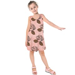 Chocolate Background Floral Pattern Kids  Sleeveless Dress
