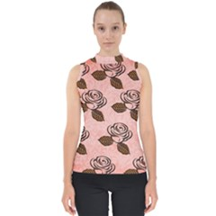 Chocolate Background Floral Pattern Shell Top
