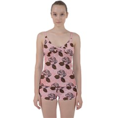Chocolate Background Floral Pattern Tie Front Two Piece Tankini