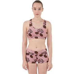 Chocolate Background Floral Pattern Work It Out Sports Bra Set