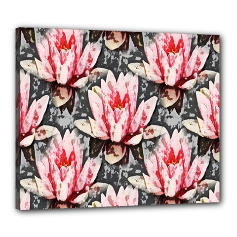 Water Lily Background Pattern Canvas 24  X 20
