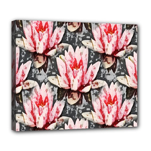 Water Lily Background Pattern Deluxe Canvas 24  X 20