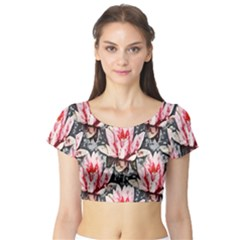 Water Lily Background Pattern Short Sleeve Crop Top (tight Fit)