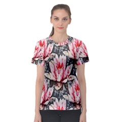 Water Lily Background Pattern Women s Sport Mesh Tee