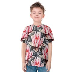 Water Lily Background Pattern Kids  Cotton Tee