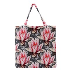 Water Lily Background Pattern Grocery Tote Bag