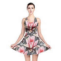 Water Lily Background Pattern Reversible Skater Dress