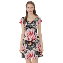 Water Lily Background Pattern Short Sleeve Skater Dress
