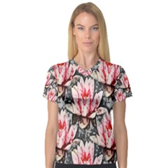 Water Lily Background Pattern V Neck Sport Mesh Tee