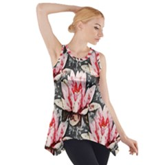 Water Lily Background Pattern Side Drop Tank Tunic