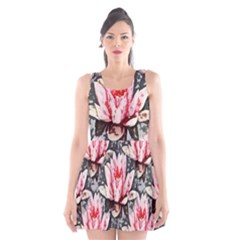Water Lily Background Pattern Scoop Neck Skater Dress