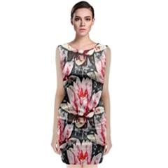 Water Lily Background Pattern Classic Sleeveless Midi Dress