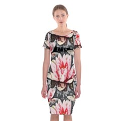 Water Lily Background Pattern Classic Short Sleeve Midi Dress