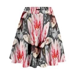 Water Lily Background Pattern High Waist Skirt