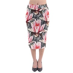 Water Lily Background Pattern Midi Pencil Skirt