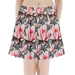 Water Lily Background Pattern Pleated Mini Skirt