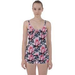 Water Lily Background Pattern Tie Front Two Piece Tankini