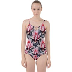 Water Lily Background Pattern Cut Out Top Tankini Set