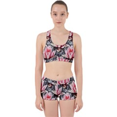 Water Lily Background Pattern Work It Out Sports Bra Set