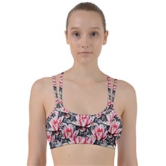 Water Lily Background Pattern Line Them Up Sports Bra