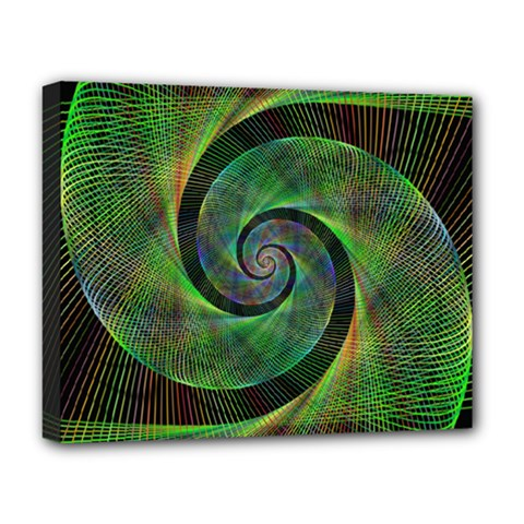 Green Spiral Fractal Wired Deluxe Canvas 20  X 16