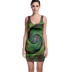 Green Spiral Fractal Wired Bodycon Dress