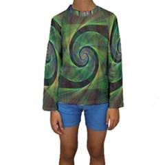 Green Spiral Fractal Wired Kids  Long Sleeve Swimwear