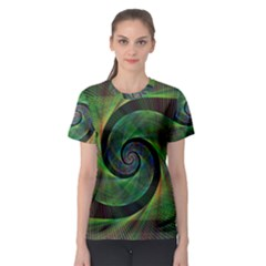Green Spiral Fractal Wired Women s Sport Mesh Tee