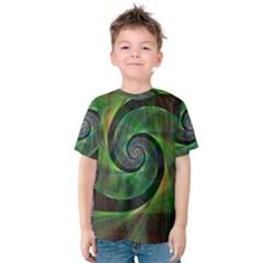 Green Spiral Fractal Wired Kids  Cotton Tee