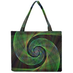 Green Spiral Fractal Wired Mini Tote Bag