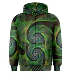 Green Spiral Fractal Wired Men s Zipper Hoodie