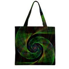 Green Spiral Fractal Wired Zipper Grocery Tote Bag