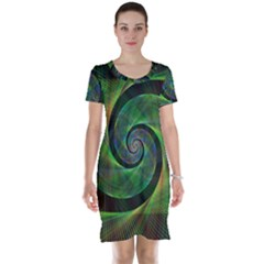 Green Spiral Fractal Wired Short Sleeve Nightdress