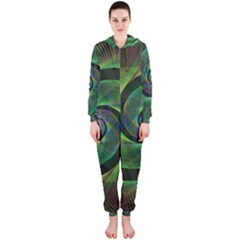 Green Spiral Fractal Wired Hooded Jumpsuit (ladies)