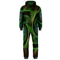 Green Spiral Fractal Wired Hooded Jumpsuit (men)