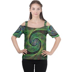 Green Spiral Fractal Wired Cutout Shoulder Tee