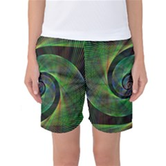 Green Spiral Fractal Wired Women s Basketball Shorts