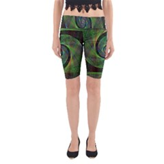 Green Spiral Fractal Wired Yoga Cropped Leggings