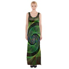Green Spiral Fractal Wired Maxi Thigh Split Dress