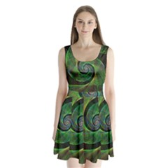 Green Spiral Fractal Wired Split Back Mini Dress