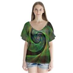 Green Spiral Fractal Wired V Neck Flutter Sleeve Top