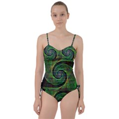 Green Spiral Fractal Wired Sweetheart Tankini Set